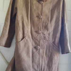 Vintage mink fur collar suede coat
